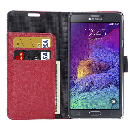 the best attitude b4a30 817ae Leather Wallet Case for Samsung Galaxy Note 4 (Red)