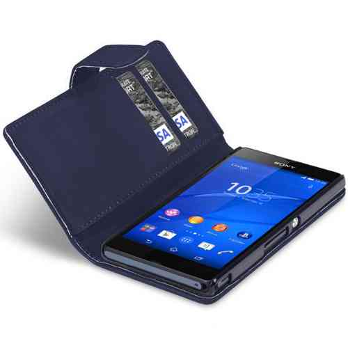 Leather Wallet Flip Case (Card Holder) for Sony Xperia Z3 - Deep Blue