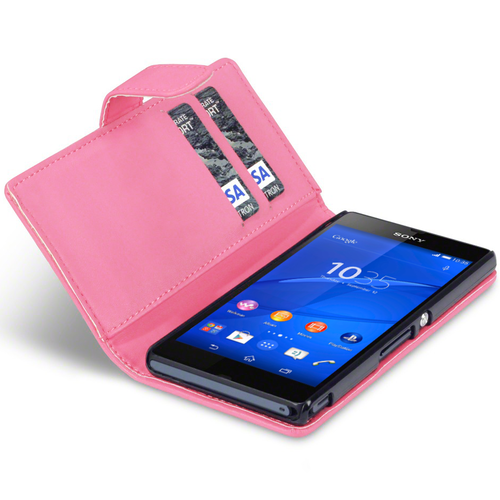 Leather Wallet Flip Case (Card Holder) for Sony Xperia Z3 - Light Pink