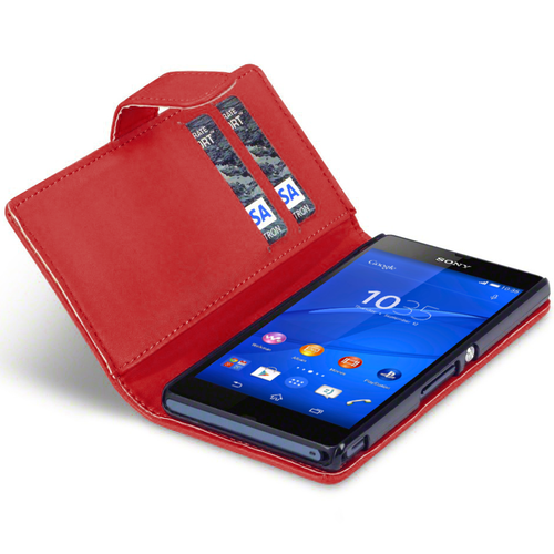 Leather Wallet Flip Case (Card Holder) for Sony Xperia Z3 - Red