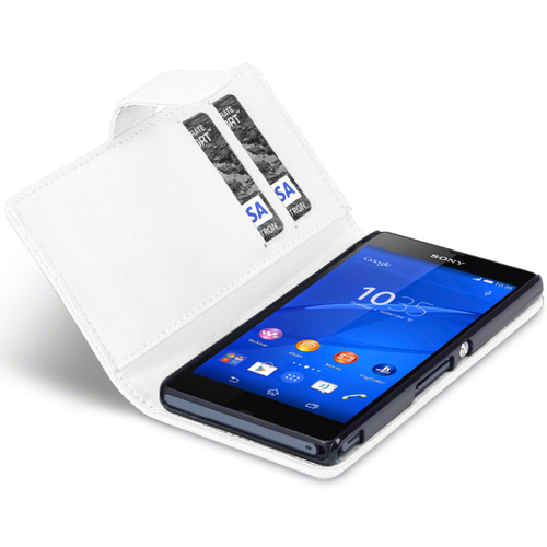 Leather Wallet Flip Case (Card Holder) for Sony Xperia Z3 - White