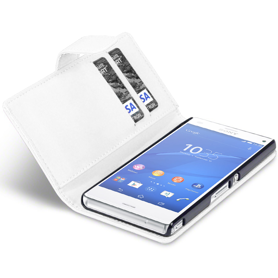 leather wallet case sony xperia z3 compact white. Black Bedroom Furniture Sets. Home Design Ideas
