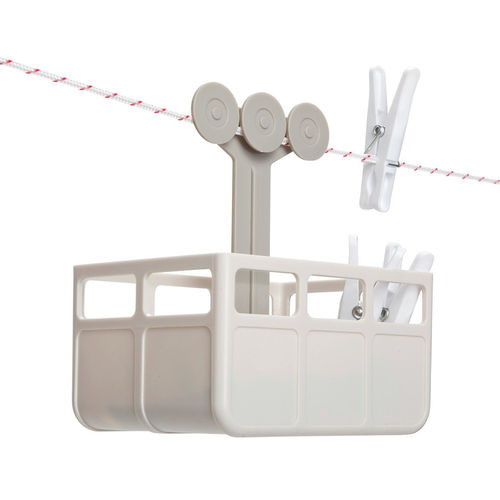 Monkey Business Cabina Clothesline Peg Basket & Holder - Stone