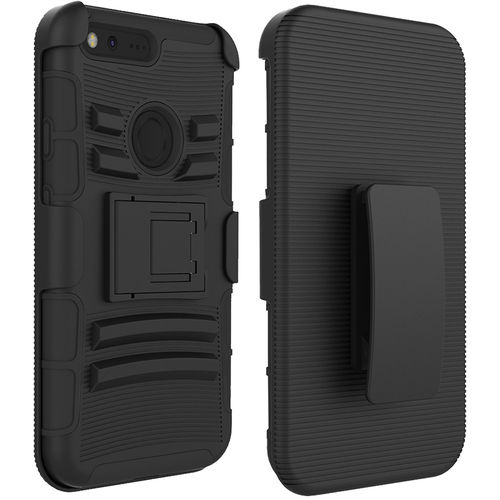 Military Shockproof Belt Clip Holster Case for Google Pixel - Black