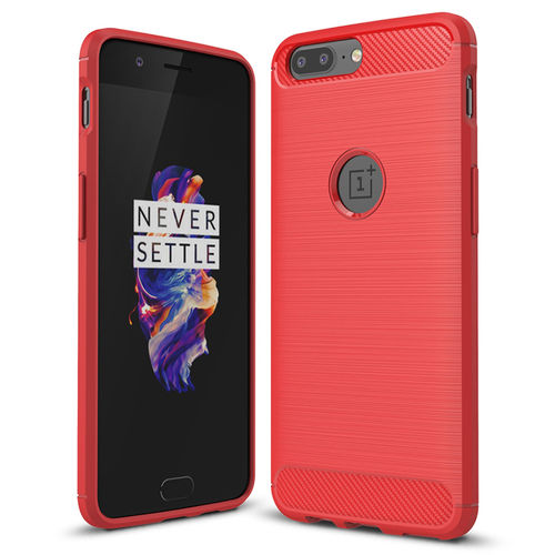 Flexi Slim Carbon Fibre Tough Case for OnePlus 5 - Red