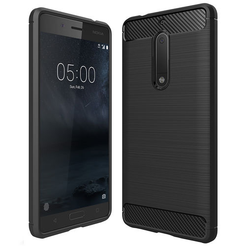 Flexi Carbon Fibre Tough Case for Nokia 5 - Brushed Black