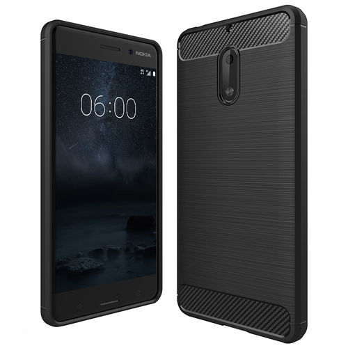 Flexi Carbon Fibre Tough Case for Nokia 6 (2017) - Brushed Black