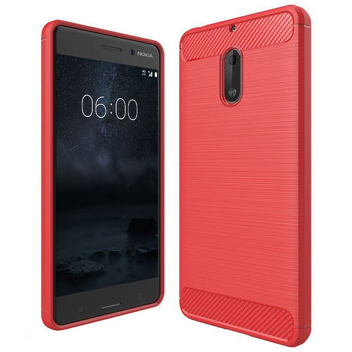 Flexi Carbon Fibre Tough Case for Nokia 6 (2017) - Brushed Red