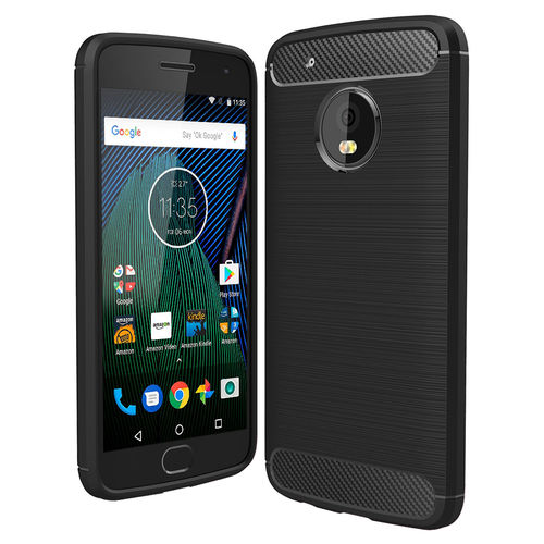 Flexi Slim Carbon Fibre Tough Case for Motorola Moto G5 Plus - Black