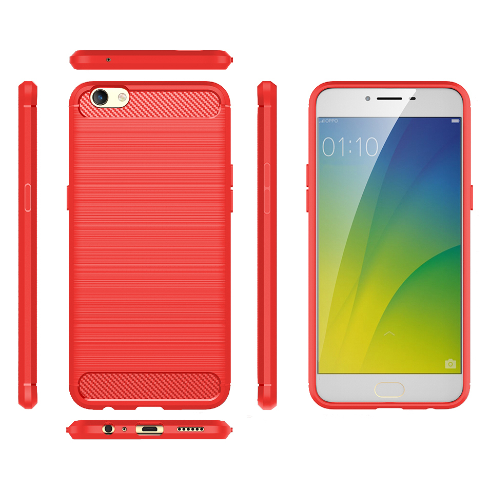 online store 76bb8 4a679 Flexi Carbon Fibre Tough Case for Oppo R9s - Brushed Red