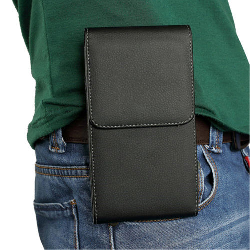 Executive XXL Vertical Leather Belt Clip Case Travel Pouch for Phones