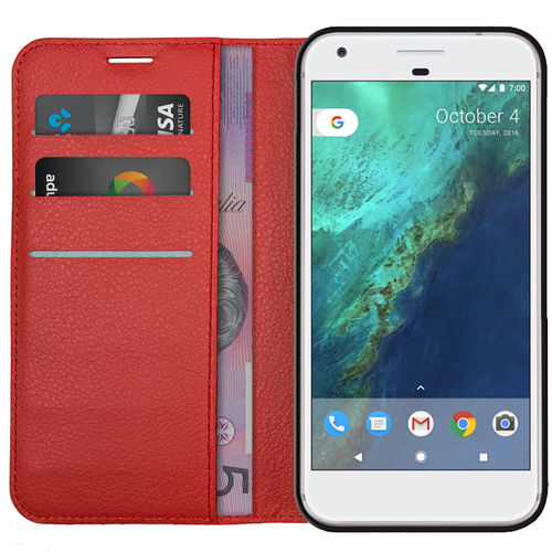 Leather Wallet Case & Card Holder for Google Pixel Phone - Red
