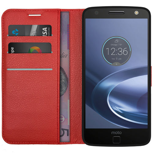 Leather Wallet Case & Card Holder for Motorola Moto Z Force - Red