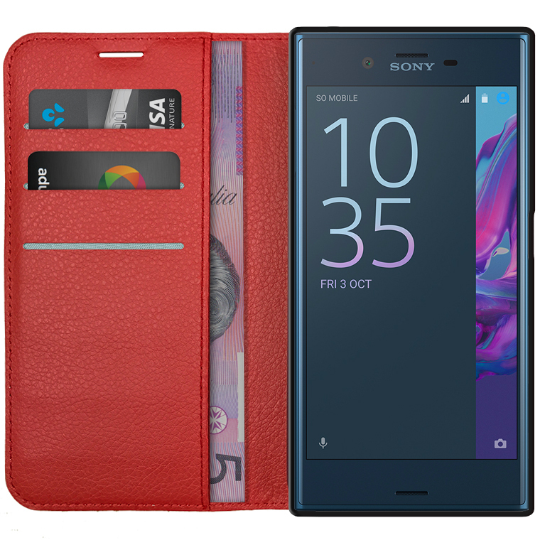 best sneakers 3eeea 1a459 Leather Wallet Case Pouch for Sony Xperia XZ (Red)