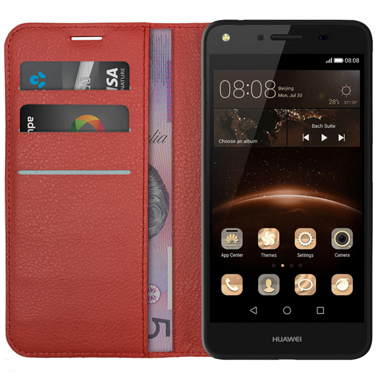 online store d51cb e30bf Leather Wallet Case for Huawei Y6 Elite / Y5II (Red)