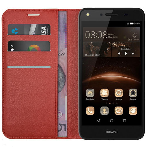 Leather Wallet Case & Card Holder for Huawei Y6 Elite / Y5II - Red