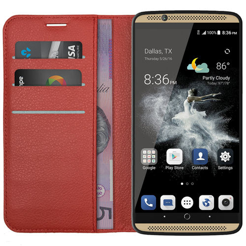 Leather Wallet Case & Card Holder Pouch for ZTE Axon 7 Mini - Red