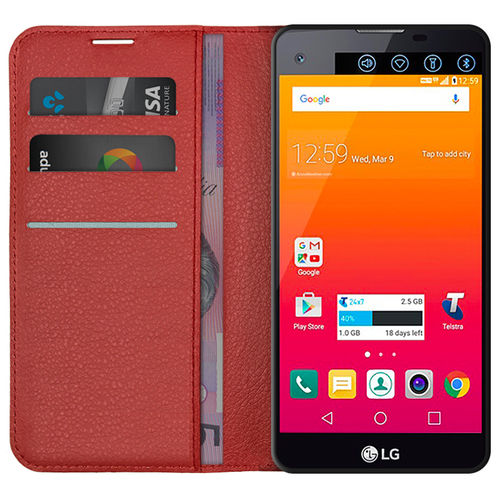 Leather Wallet Case for Telstra Signature Enhanced (LG K500K) - Red