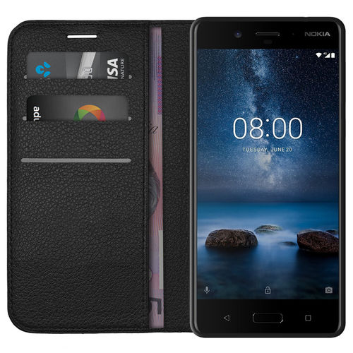 Leather Wallet Case & Card Holder Pouch for Nokia 8 - Black