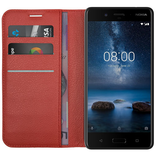 Leather Wallet Case & Card Holder Pouch for Nokia 8 - Red