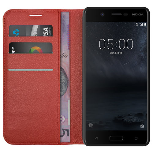 Leather Wallet Case & Card Holder Pouch for Nokia 5 - Red
