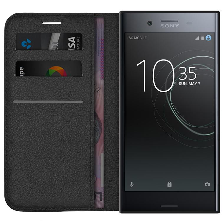 wholesale dealer 6c715 9b4c0 Leather Wallet Case for Sony Xperia XZ Premium (Black)