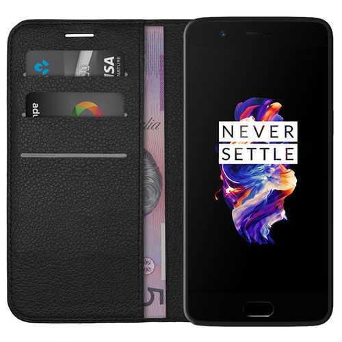 Leather Wallet Case & Card Holder Pouch for OnePlus 5 - Black