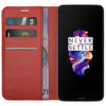 Leather Wallet Case & Card Holder Pouch for OnePlus 5 - Red