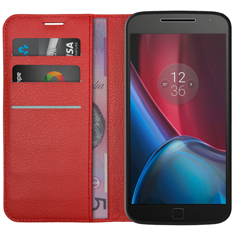 new style 12b56 b7a46 Leather Wallet Case - Motorola Moto G4 Plus (Red)