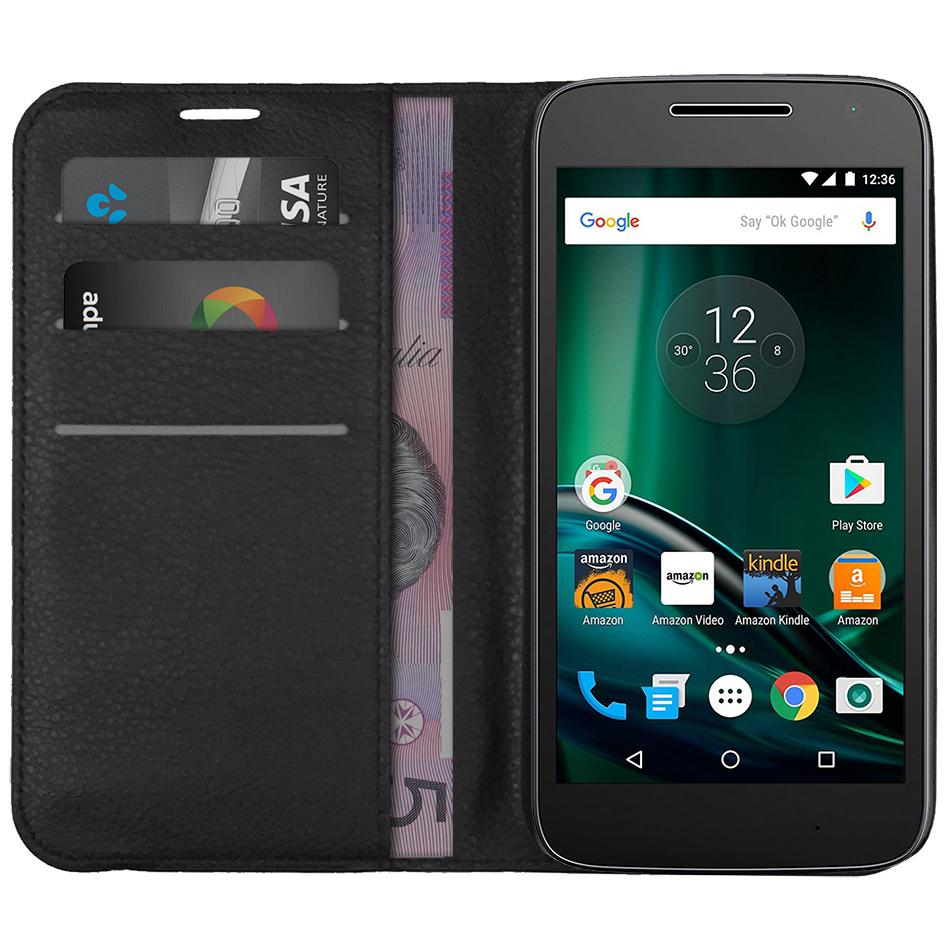 best website 98a00 d385c Leather Wallet Case - Motorola Moto G4 Play (Black)