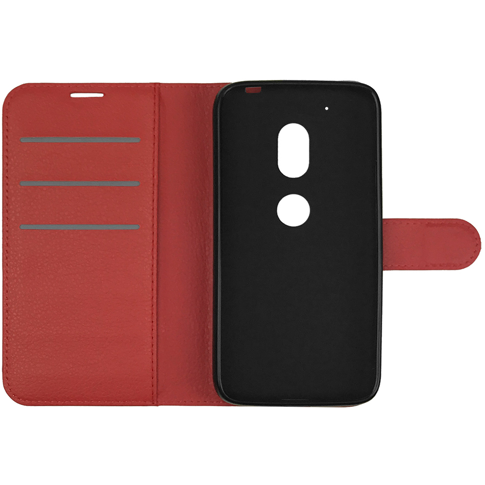 newest 2a15b 4c120 Leather Wallet Case - Motorola Moto G4 Play (Red)