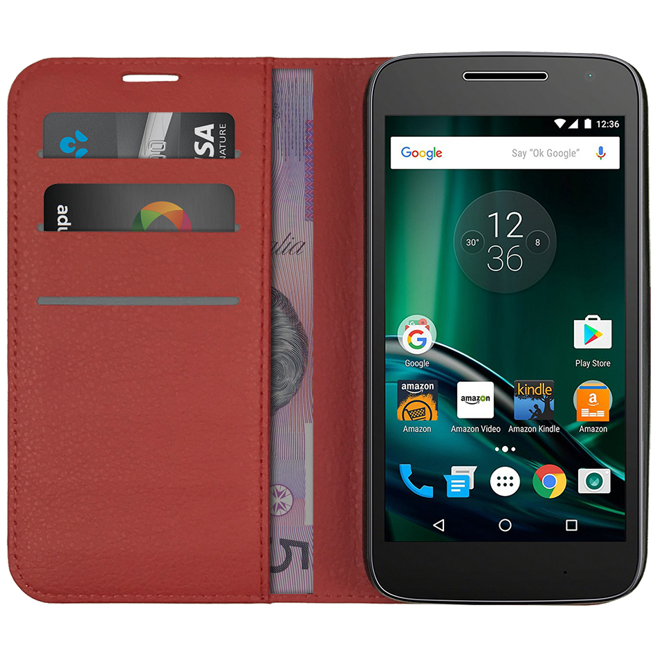 newest 5174e 1d19e Leather Wallet Case - Motorola Moto G4 Play (Red)