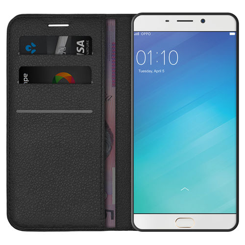 Leather Wallet Case & Card Holder Pouch for Oppo R9 Plus - Black