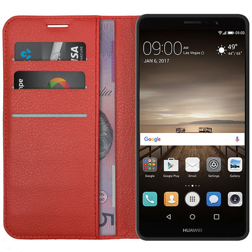 Leather Wallet Case & Card Holder Pouch for Huawei Mate 9 - Red