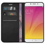 Leather Wallet Case & Card Holder & Stand for Oppo R9s Plus - Black