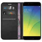Leather Wallet Case & Card Holder Pouch for Oppo R9s - Black