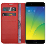 Leather Wallet Case & Card Holder Pouch for Oppo R9s - Red