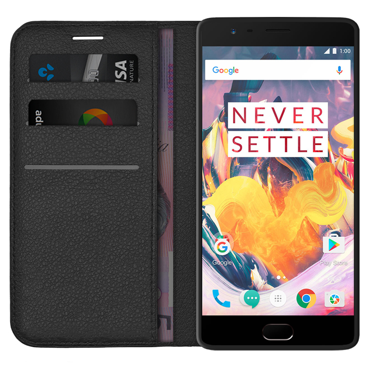 timeless design b08c1 23777 Leather Wallet Case for OnePlus 3 / 3T (Black)