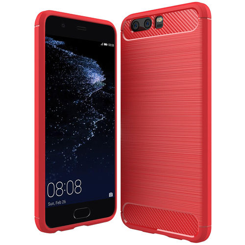 Flexi Carbon Fibre Tough Case for Huawei P10 Plus - Brushed Red