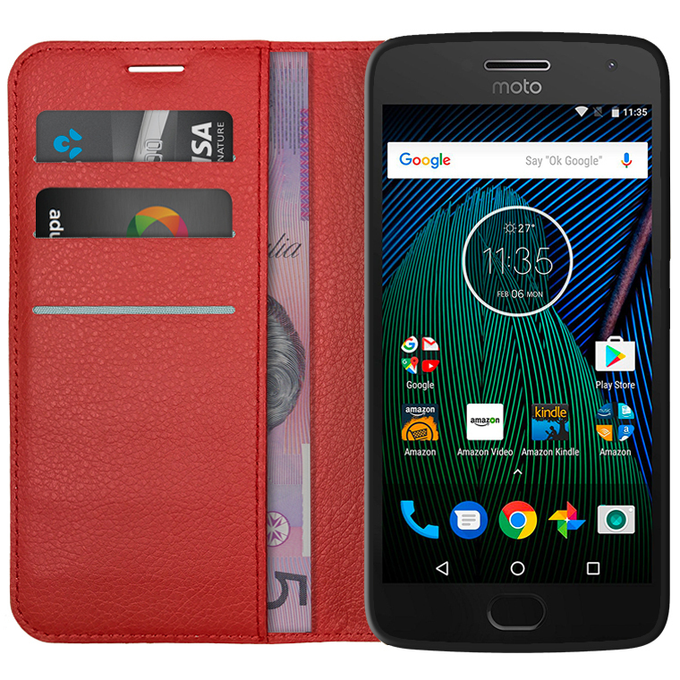 info for c815a dd303 Leather Wallet Case for Motorola Moto G5 Plus (Red)