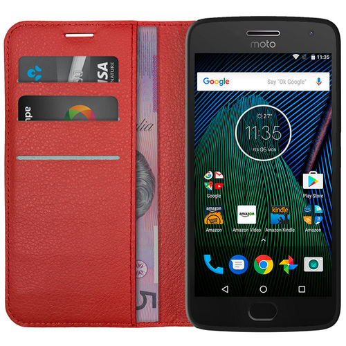 Leather Wallet Case & Card Holder for Motorola Moto G5 Plus - Red