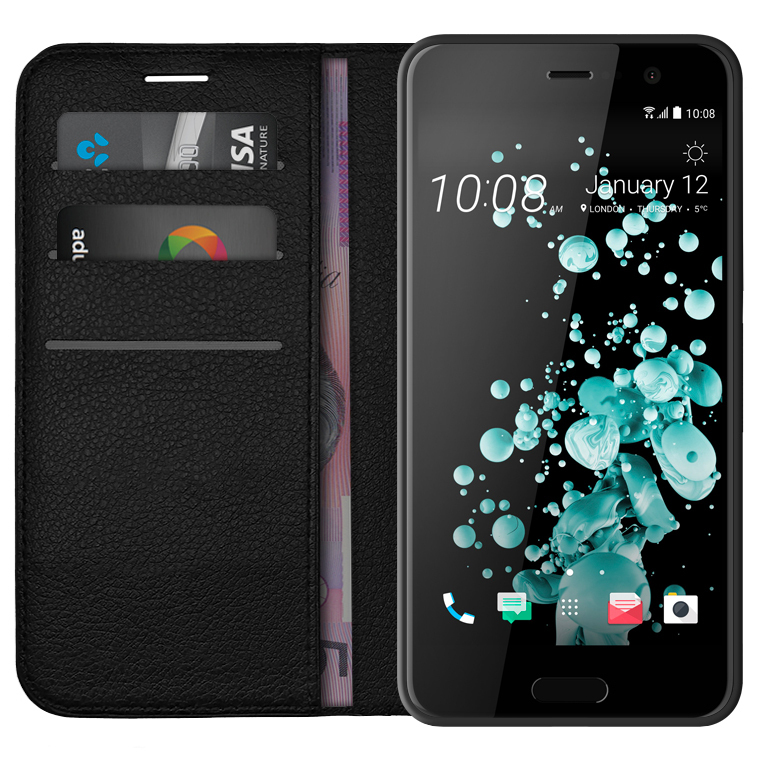 new arrival 945c2 600d3 Leather Wallet Case for HTC U Play (Black)