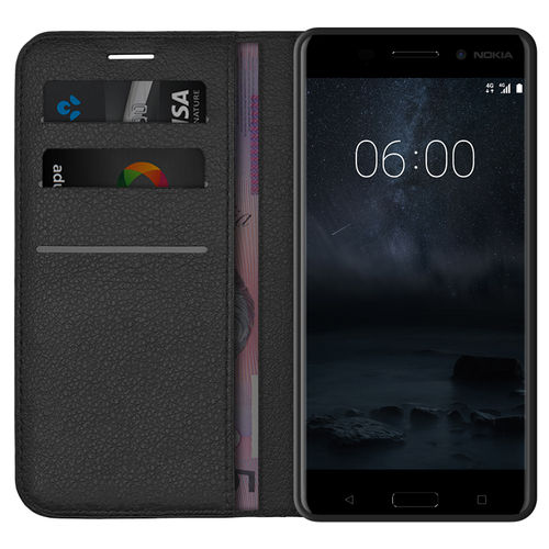 Leather Wallet Case & Card Holder Pouch for Nokia 6 (2017) - Black