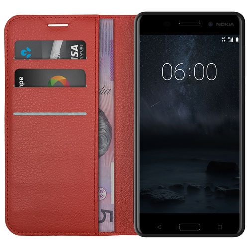 Leather Wallet Case & Card Holder Pouch for Nokia 6 (2017) - Red