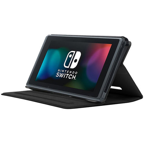 Slim Hybrid PU Leather Flip Case & Stand for Nintendo Switch - Black