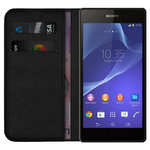 Leather Wallet Flip Case & Card Holder for Sony Xperia Z2 - Black