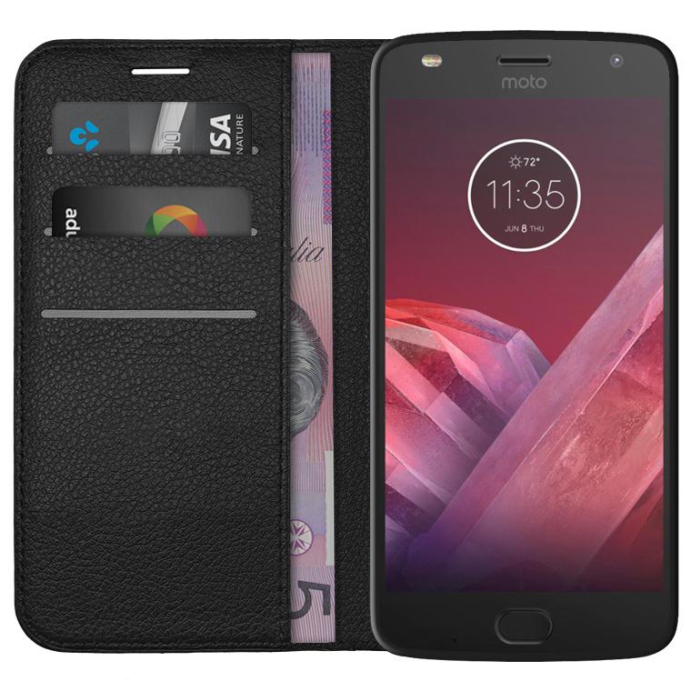 buy popular 3d744 16daf Leather Wallet Case for Motorola Moto Z2 Play (Black)