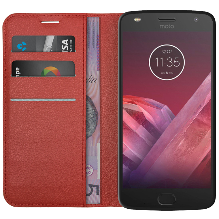 the best attitude b338d fad15 Leather Wallet Case for Motorola Moto Z2 Play (Red)
