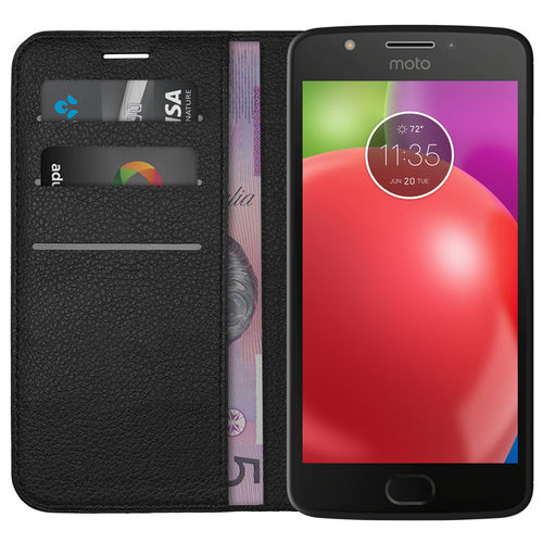 Leather Wallet Case & Card Holder Pouch for Motorola Moto E4 - Black