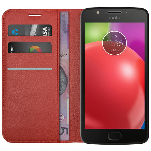 Leather Wallet Case & Card Holder Pouch for Motorola Moto E4 - Red